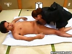 Asian slut gives deepthroat blowjob to one Japanese guy