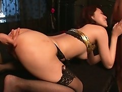 Svelte sexy Japanese girlie Ann Yabuki is poked doggy and gives heads