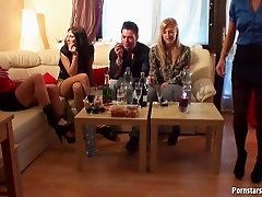 European birthday party turns into an orgy with pissing games