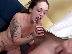 Tattooed mature brunette Adrienne Kiss devours and rides a cock