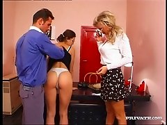 Two secretaries give their boss double head then give up the ass