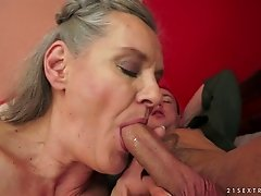Horny amateur granny gets her pussy smacked with a toy before giving a thrilling blowjob then screwed doggystyle
