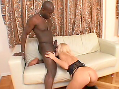 Hot blonde Lara gets her asshole torn up by a black stud