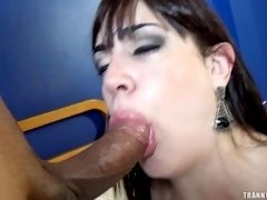 Emotional brunette enjoys having a big dick between her tits