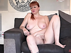 Crimson haired plus-size with a fur covered beaver, Velvetina Fox got downright nude, just for joy