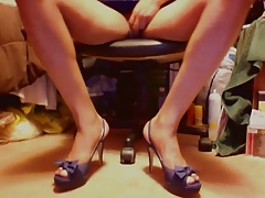 Playing in Perfect Blue High heels and blue upskirts