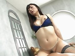 Lingerie and stockings are amazing on a hardcore Japanese girl