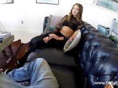 Curvy babe deepthroats fat cock and fucks doggy style POV