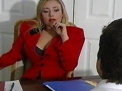 Blonde in high heels fucked in her office