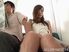 Facial cumshot after a blowjob for a lovely Asian babe