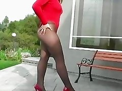 Masturbation in dark tights