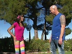 Sunny day sex in the park with a cute teen in rainbow socks