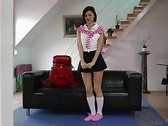 Immaculate brunette lass in upskirt getting spooked doggystyle