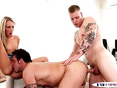 Inked hunks assfucking and pussylicking babe
