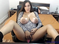 Amateur sexy beautiful brunette with giant natural boobs and mega nipples