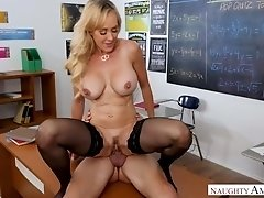 Perfect huge breasted blonde tutor Brandi Love rides her student on top