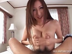 Beautiful Asian chick with huge natural tits licking and sucking a stranger's cock
