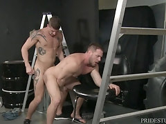 Hardcore garage gay fuck with mature guys fixing a boat