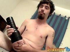 Straighty Samuel Phatom makes his dick cum with a fleshlight
