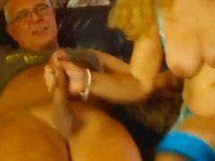 Chubby old blonde slut works on three strong dicks for multiple orgasm