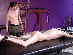 BadBoyBondage - Helpless young twink sucks cock BDSM torment