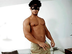 Latino curly haired gay guy in a masked solo masturbbation session