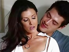 Horny boy licks and fucks gorgeous brunette mom's trimmed twat