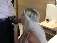 Horny bride with big tits has interracial sex with stud