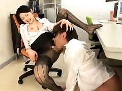Provoking Oriental babe in stockings has a hunger for cock