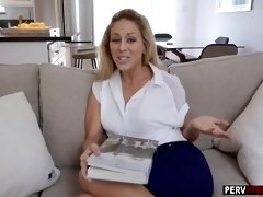 Horny stepson blackmailed a MILF stepmom