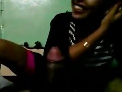 Amateur Indian chick is sucking big dick with pleasure