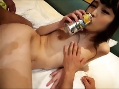 Slim Japanese girl with small boobs takes on two hard dicks