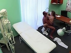 Cute russian patient making her doctor cum
