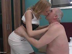 Rock hard grandpa cock fucks her fresh college girl pussy