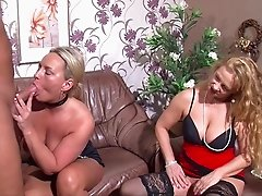 Two mature women have a threesome with a single guy