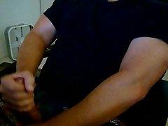 stroking my cock to a cum shot