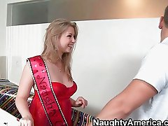 Attractive busty blonde fucked in red thongs