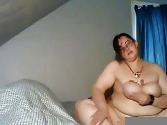 BBW bound breast masturbation