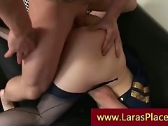 Mature lady bangs two men on her sofa